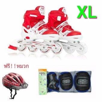 รองเท้าอินไลน์สเก็ต Premium Inline Skate POWER SEVENTH Aluminium TracksABEC-7 Wheels with Lights 0415A Warranty 1 Year. เบอร์ 37-44 (RED #XL) + สนับป้องกัน