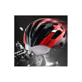 PRO TEAM WT-049 หมวกจักรยานอินโมล์ด พร้อมแว่นในตัว และมีตาข่ายกันแมลง สีแดง