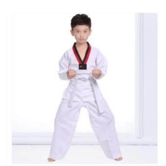 ชุดเทควันโด ผ้าอย่างดี ชุดฝึกซ้อมเทควันโด พร้อมสายขาว