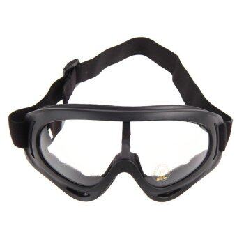 PYM แว่นตากันแดด กันฝุ่น สำหรับขี่มอเตอร์ไซค์ จักรยาน หรือ เล่นกีฬากลางแจ้ง กรอบดำ มีสายรัด เลนส์สีใส จำนวน 1 ชิ้น