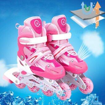 รองเท้าสเก็ต โรลเลอร์เบลด QI-SPORT ไซส์ 34-37 (สีชมพู)