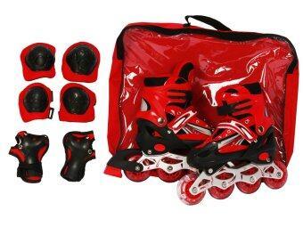 รองเท้าสเก็ต Lucky Sport (สีแดง) และ อุปกรณ์ป้องกัน