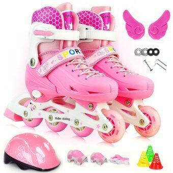 รองเท้าสเก็ต พร้อมอุปกรณ์ รุ่น Let's cool ไซด์ 34-37M (สีชมพู)