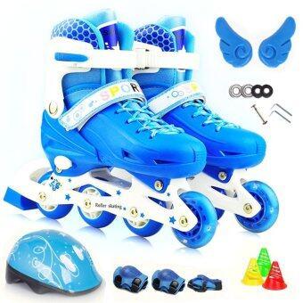 รองเท้าสเก็ต พร้อมอุปกรณ์ รุ่น Let's cool ไซด์ 34-37M (สีน้ำเงิน)