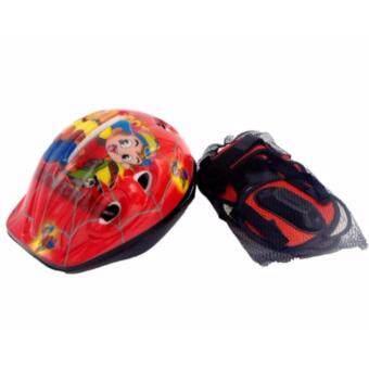 อุปกรณ์ป้องกัน ชุดป้องกัน หมวก สนับเข่า สนับมือ สนับศอก กันล้ม สำหรับเด็ก [RED]