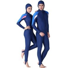 ราคา Redcolourful Big Sale *D*Lt Unisex Wetsuit Uv Protective Full Body Hoodie Diving Suit For Swim Surf Snorkel Color Navy Blue Size L Redcolourful จีน