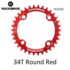Rockbros 32T 34T 36T 38T Crankset Mtb Bike Bicycle Parts Oval Round Bicycle Bike Crank Chainwheel 104Bcd Wide Narrow Chainring 34T Round Red Intl จีน