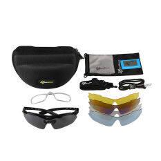 Rockbros Cycling Outdoor Polarized Glasses Sunglasses Goggles 5 Lenses Black เป็นต้นฉบับ