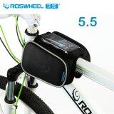 ขาย Roswheel 5 5 Touchscreen Bike Bag Mountain Road Bicycle Bag Double Pouch Pannier Cycling Front Frame Tube Bag Black ผู้ค้าส่ง