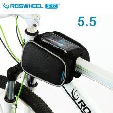 ขาย Roswheel 5 5 Touchscreen Bike Bag Mountain Road Bicycle Bag Double Pouch Pannier Cycling Front Frame Tube Bag Black ออนไลน์ ใน จีน