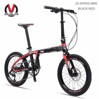 SAVA จักรยานพับคาร์บอนไฟเบอร์กรอบ 20 นิ้ว SHIMANO 22 ความเร็ว SHIMANO 105 5800 ชุดกลุ่ม MINI City ดิสก์จักรยานเบรค (22 SPEED 5800 สีดำสีแดง) - INTL-