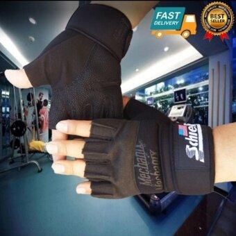 Schiek LIFTING GLOVE ถุงมือยกน้ำหนัก ถุงมือฟิตเนส Fitness Glove (Black) XL