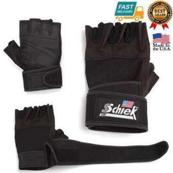 Schiek LIFTING GLOVE ถุงมือยกน้ำหนัก ถุงมือฟิตเนส Fitness Glove Size M (Black) -
