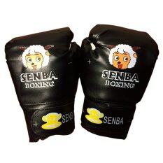 SENBA นวมชกมวยเด็กการ์ตูนสีดำ นวมมวยสำหรับเด็ก นวมต่อยมวย นวมซ้อมมวยไทย นวมเด็กลายการ์ตูน BLACK Cartoon PU Leather Muay Thai Kick Boxing Gloves for Kids