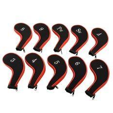 ชุด 10 ชิ้นกอล์ฟ Headcovers เหล็กปลอกหุ้มหัวไม้กอล์ฟป้องกันกรณีกลางแจ้งใหม่ By Miryo.