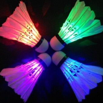 Sunshop Dark Night Colorful LED Lighting Sport Badminton Light Spot Shuttlecock - intl