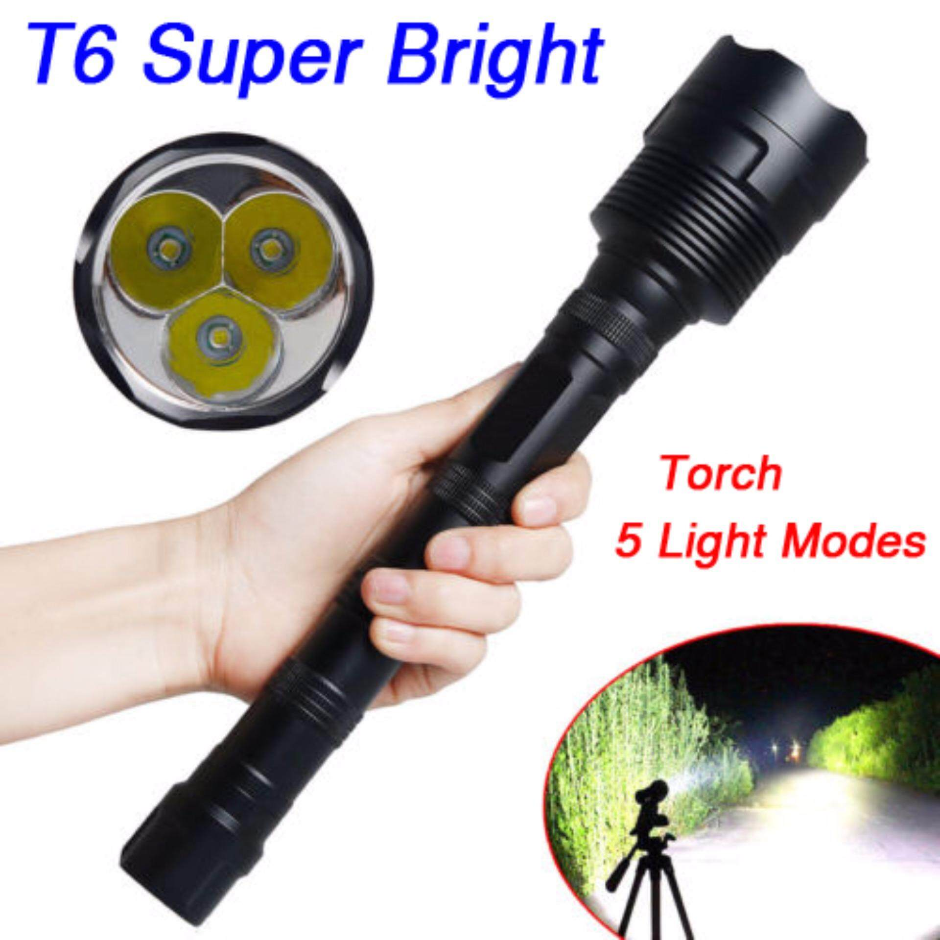 ไฟฉายแรงสูง Super Bright 8000 Lumens 3 x CREE XM-L T6 LED Flashlight Torch with 3X 18650 battery (not included)