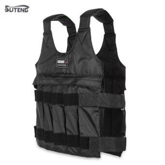 SUTENG 50kg Max Loading Weighted Vest Adjustable Jacket Exercise Boxing Training Waistcoat (Black) - intl