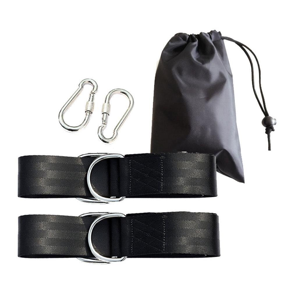 svoovs Tree Swing Straps - 4.9 FT High Strength Polyester Safety Hanging Rope Kit Holds 2200lb with Strong Heavy Duty 2 Safety Lock Carabiner Hooks for Swings,Hammocks(2 Pack, Black ) - intl