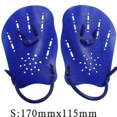 ถุงมือว่ายน้ำแบบพังผืดดำน้ำ Paddling แผ่นติดฝามือการฝึกอบรมว่ายน้ำถุงมือมีครีบสำหรับ Beginner สี: สีฟ้าขนาด: S.