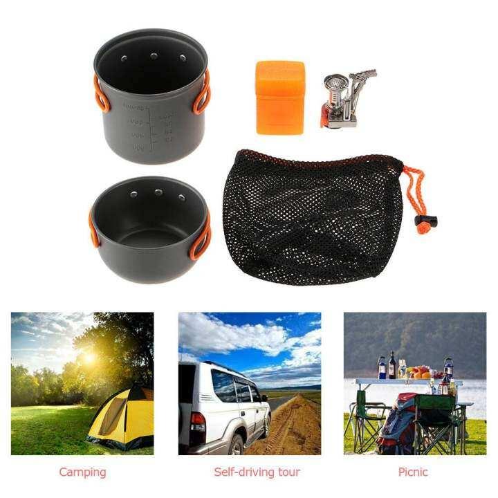 โปรโมชั่น TOMSHOO Outdoor Camping Hiking Cookware with Mini Camping Piezoelectric Ignition Stove Backpacking