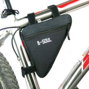 sportschannel กรอบรูปสามเหลี่ยมท่อตรงกระเป๋าการขี่จักรยานกระเป๋าถืออานม้า (สีดำ)