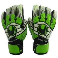 ทบทวน Uhlsportถุงมือผู้รักษาประตูuhlsport Uh19001 Eliminator Soft Graphit Sfดำเขียวขาว เบอร์ 9