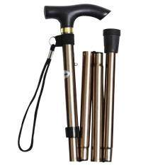 ขาย Unisex Woman Men Portable Folding Collapsible Cane Travel Walking Hiking Mountain Climbing Stick Non Slip Adjustable Aluminum Alloy Foldable Crutch With Comfortable Handle For Old Gentleman Or Lady Golden Intl Vococal ถูก