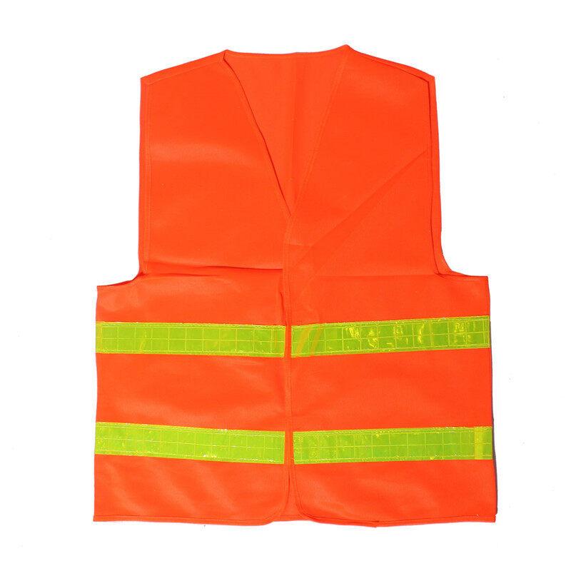 ทัศนวิสัยด้านสุขอนามัยความปลอดภัยเสื้อนอกเสื้อกั๊กสะท้อนแสงส้ม
