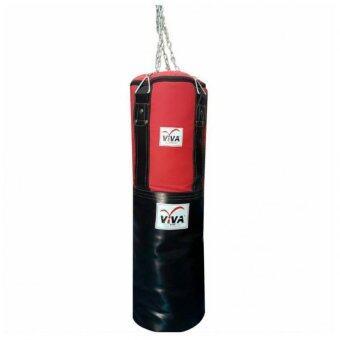 VIVA กระสอบทรายเปล่าหนังPUผ้าCANVAS ขนาด40x100 พร้อมโซ่แขวน(สีแดง/ดำ)-กระสอบทรายเปล่า