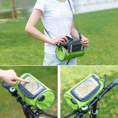 ราคา Waterproof Mountain Bicycle Front Frame Pannier Cycling Bags Double Pouch For Cell Phone Wallet Holder Bike Front Bag Accessories Phone Cases ถูก