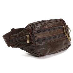 ราคา Waterproof Soft Leather Bum Waist Bag Pouch Wallet Pack Travel Men S Money Belt Brown Intl จีน