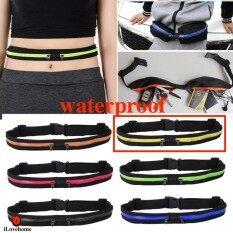 กระเป๋ากีฬาแบบคาดเอวใส่โทรศัพท์มือถือกันน้ำได้ ยืดหดได้ ใส่วิ่งออกกำลังกาย แบบ 2 ช่อง Waterproof Sport Running Belt (มี 6 สี)
