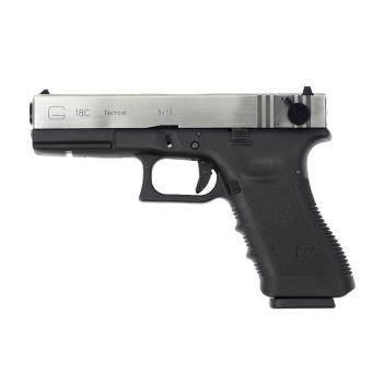 ปืนสั้นอัดแก็ส WE Glock18C Full Auto Tactical Gen.3 Nickel