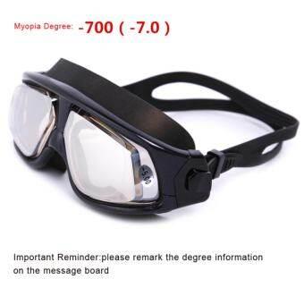 แว่นตาว่ายน้ำปลาวาฬกําหนด,แว่นตาว่ายน้ำสายตาสั้นแสงรั่วซึมการออกแบบป้องกันหมอกป้องกันรังสียูวีสำหรับว่ายน้ำกลางแจ้ง (กําหนด: 1.5-7.0 diopters)