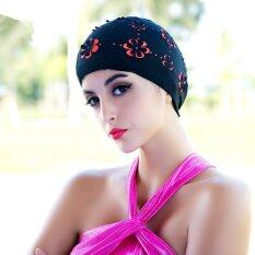Womens Flower Stretch Swim Caps Waterproof Ladies Polyester Swimming Bathing Hats ถูก