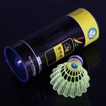 3x Durable Nylon Birdies Badminton Shuttlecocks Training Sport Game Mesh Ball -Yellow- intl