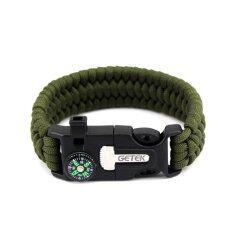 ทบทวน ที่สุด Yika 5 ใน 1 Survival Brallet เข็มทิศ Paracord เข็มทิศ Flint Fire Starter Scraper Whistle Gear Kits สีเขียว