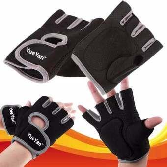 YUEYAN ถุงมือฟิตเนส ถุงมือออกกำลังกาย Fitness Glove Weight Lifting Gloves Gray ( Int:L)-