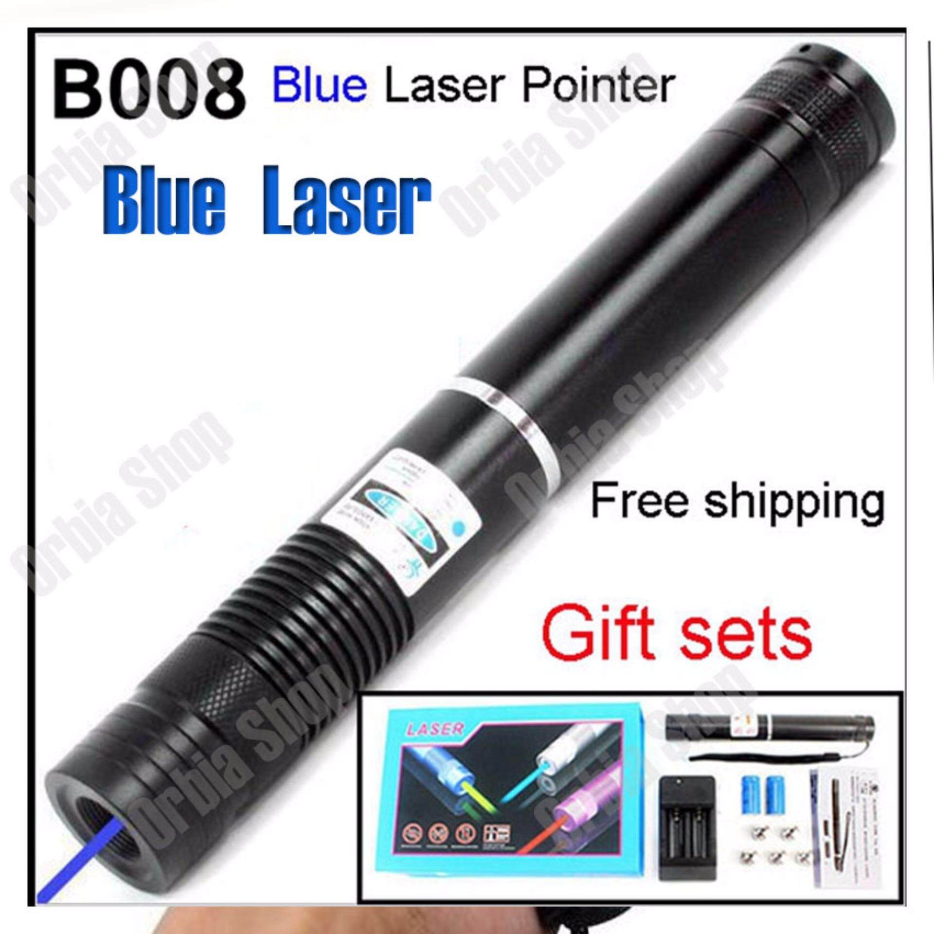 YX-B008 Powerful 5000mW 450nm Blue Beam Laser Pointer with LC16340 3.6V 1000mAh Battery-Black