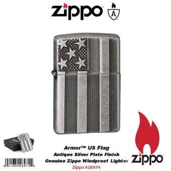 Zippo 28974 Armor Case ลายธงชาติอเมริกา Armor US Flag Antique Silver Plate USA