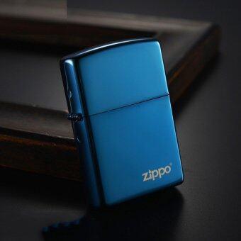 Zippo Logo Sapphire Blue Finish รุ่น 20446ZL แซฟไฟร์ สีฟ้าน้ำทะเล USA