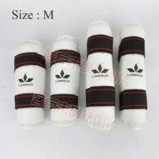 ส่วนลด สินค้า Zxk Lianhua ชุดสนับแข้ง สนับแขนเทควันโด 4 ชิ้น ป้องกันการบาดเจ็บ ไซต์ M สีขาว