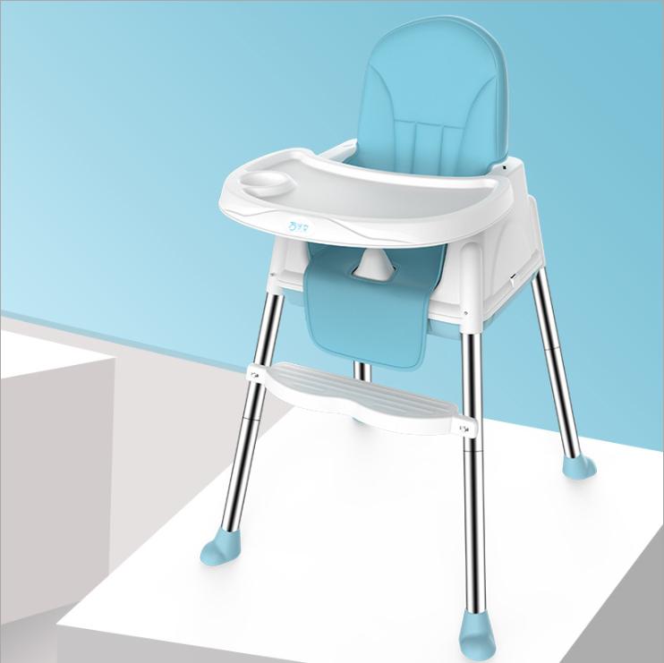 ราคา เก้าอี้ทานข้าวเด็กโต๊ะทานข้าวเด็กมัลติฟังก์ชั่นปรับความสูงได้พร้อมถาดอาหารเบาะหนังล้อสามารถเลื่อนได้ 360 °