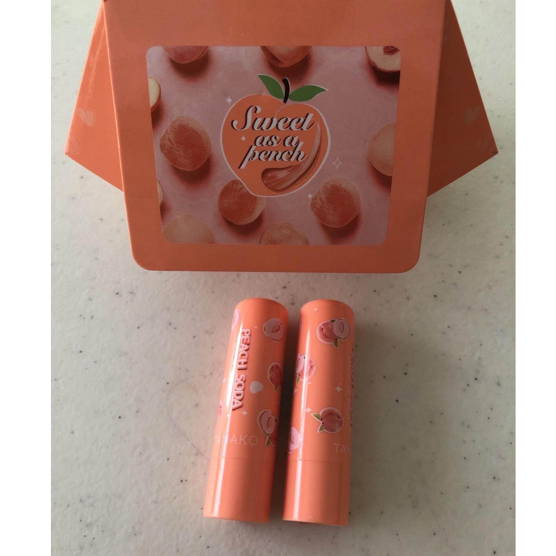 (2 แท่ง) Tanako Peach Soda Lip ลิปมันเปลี่ยนสี ลูกพีช สีสวย แก้ปากดำคล้ำ กลิ่นหอมลูกพีช บรรจุแท่งละ 3.5 กรัม