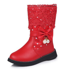 2020 Mẫu Mới Cho Mùa Đông Trẻ Em Giày Cổ Cao Giày Cotton Nơ Bướm Mặt Dây Chuyền Viền Ren Hoa Mịn Hơn Bé Gái Giày Cotton Boot Đi Tuyết