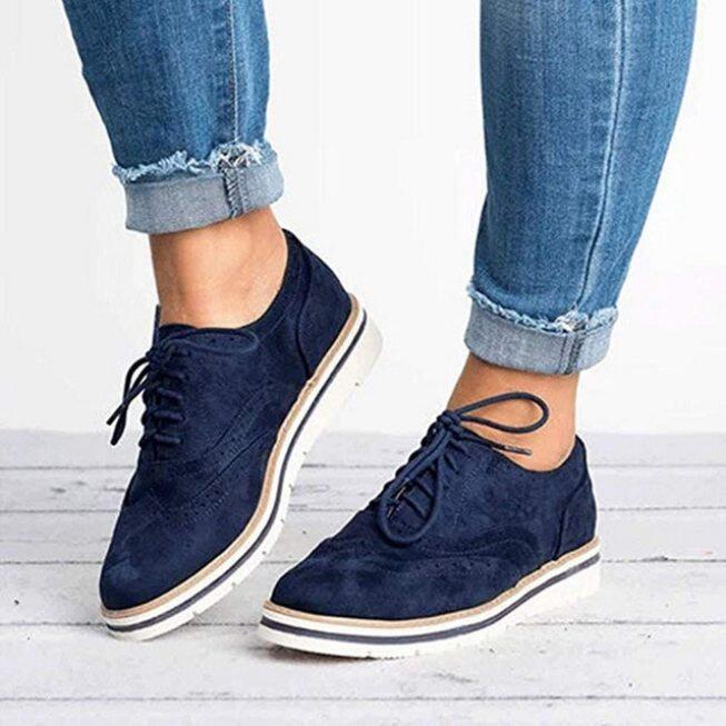 Giày Bệt Nữ Mùa Thu 2020 Giày Đế Xuồng Buộc Dây Kiểu Oxfords Giày Nữ Da Pu Chống Trượt, Thoáng Khí Nữ Giày Dép giá rẻ
