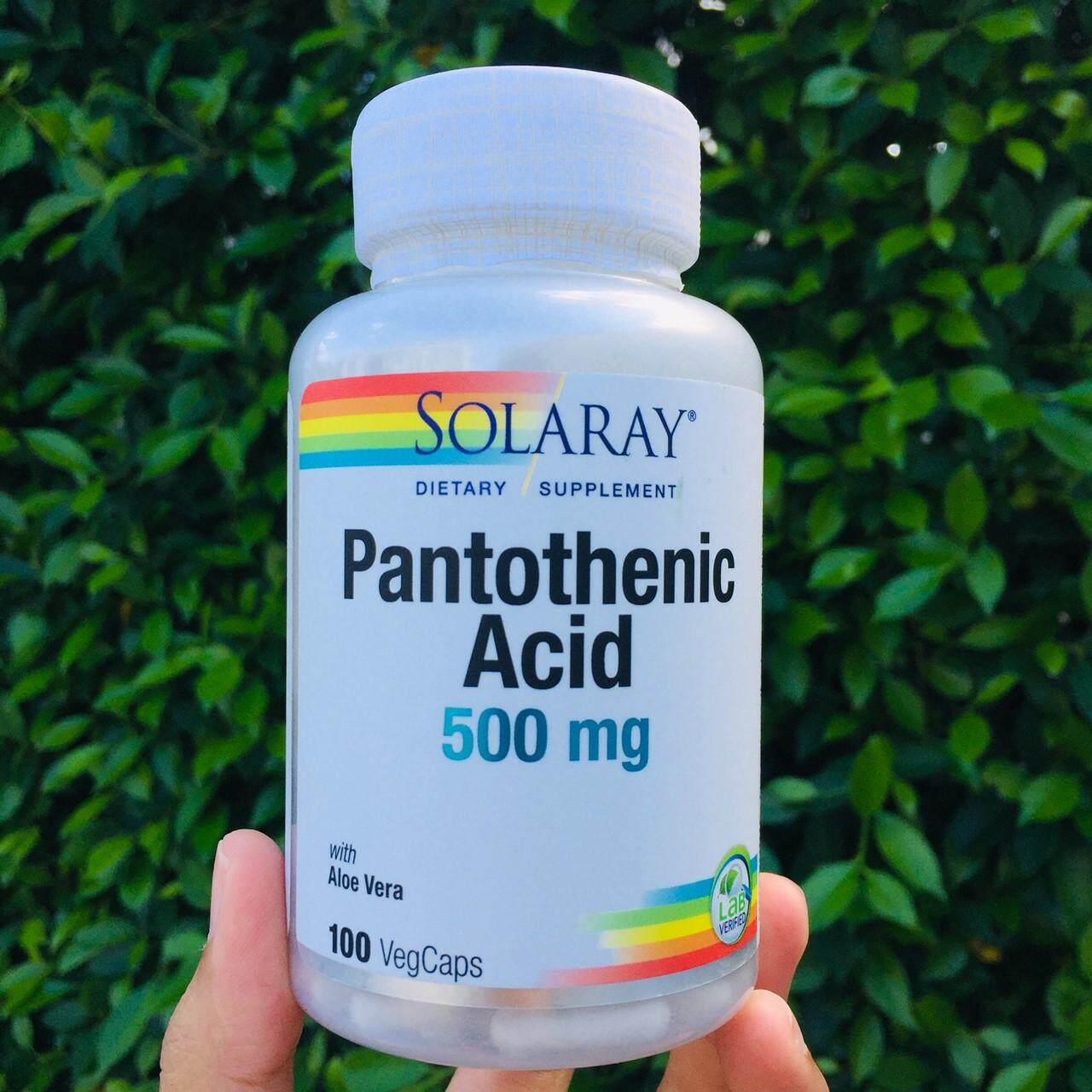 B5 กรดแพนโทเทนิก Pantothenic Acid 500 Mg 100 Vegcaps (solaray®) วิตามินบี 5 บำรุงผิว ลดสิว ลดความเครียด เพิ่มการเผาผลาญ B-5.