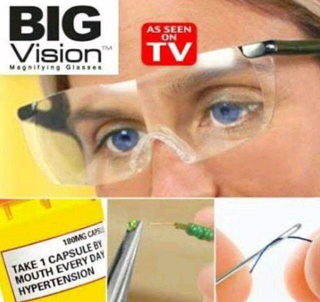 Big Vision Eyewear แว่นตาขยายไร้มือจับ แว่นขยายชนิดสวมใส่ เลนส์ขยายแบบ Wide-View 120องศาทำให้สิ่งที่เห็นแจ่มชัดที่สุด.