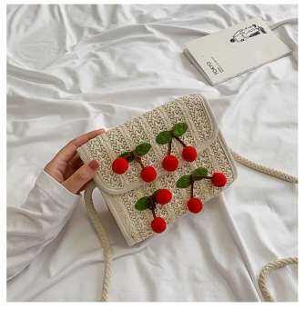 กระเป๋าสะพายข้างสานแต่งด้วยเชอร์รี่สุดน่ารัก(B959)-